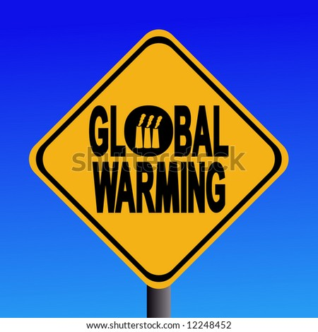 Global warming with industrial chimneys sign - stock vector