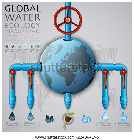 Global Water Pipeline Ecology And Environment Infographic Design Template - stock vector