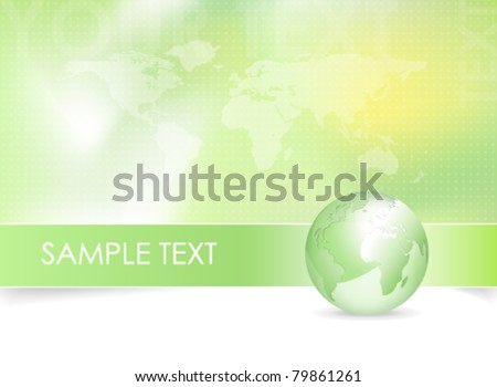 Global world map background design - green earth globe - stock vector