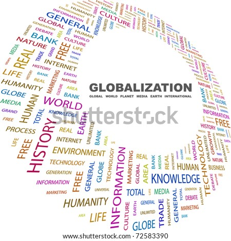 GLOBALIZATION. Word collage on white background. Vector illustration. Illustration with different association terms.