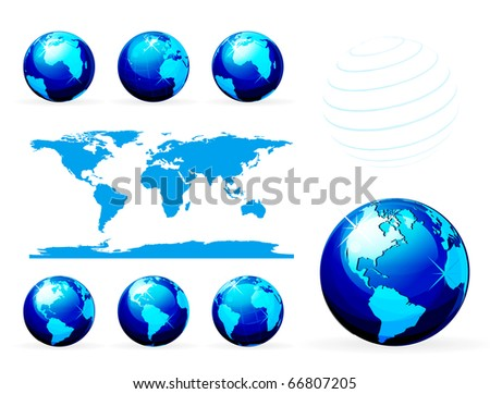 Globe and detail map of the world. Different views