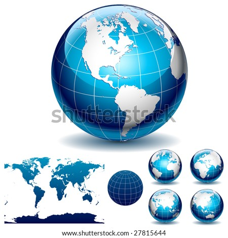 Globe and detail map of the world. Different views. Vector Illustration