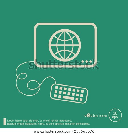 Globe and flat design elements. Line icons for application development, web page coding and programming, web design, creative process, social media, seo. - stock vector