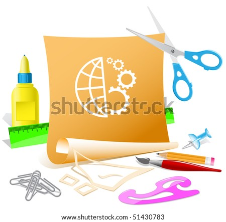 Globe and gear. Vector paper template. - stock vector