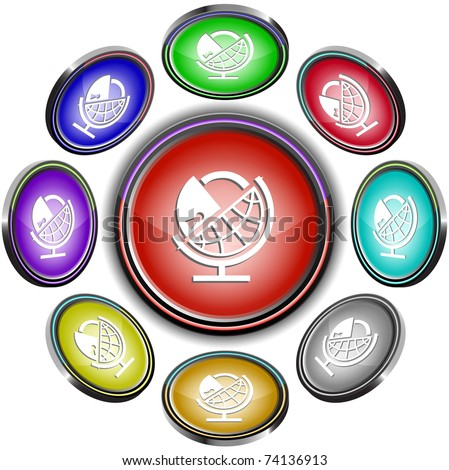 Globe and lock. Vector internet buttons. 8 different projections. - stock vector