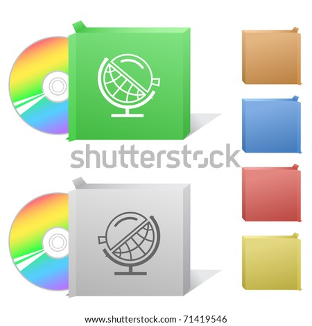 Globe and loupe. Box with compact disc. - stock vector