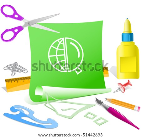 Globe and magnifying glass. Vector paper template. - stock vector