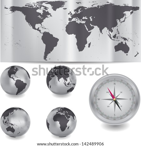 Globe and map of the world. Different views