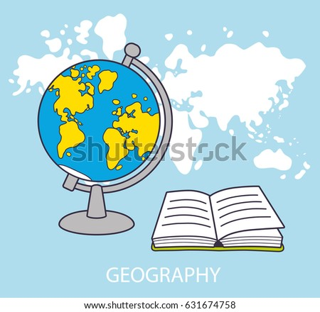 Globe open book front world map vectores en stock 631674758 globe and open book in front of world map background geography lesson icon concept gumiabroncs Image collections