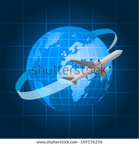 Globe and passenger aircraft - stock vector