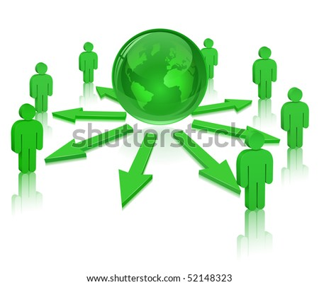Globe and People. Social Media. Communication Concept. - stock vector