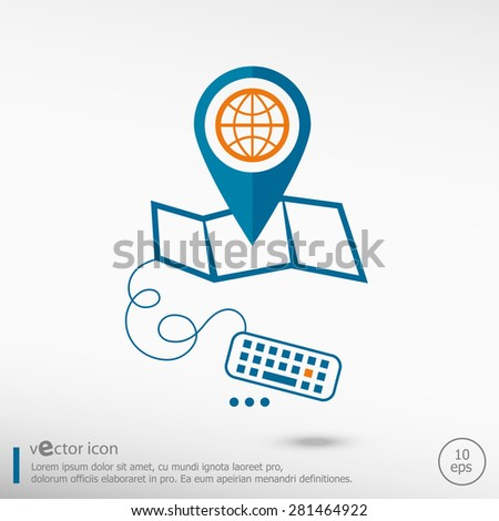 Globe and pin on the map. Line icons for application development, creative process.  - stock vector
