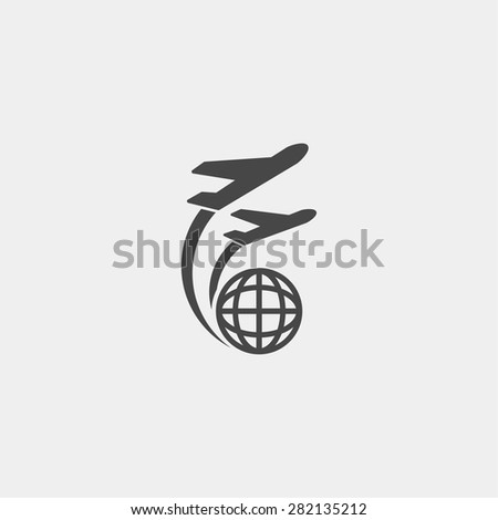 Globe and plane travel icon. Vector  Eps 10  - stock vector