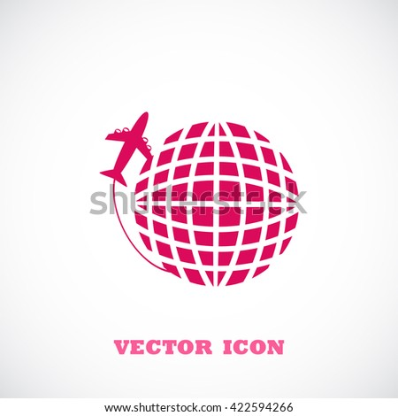 Globe and plane travel vector icon