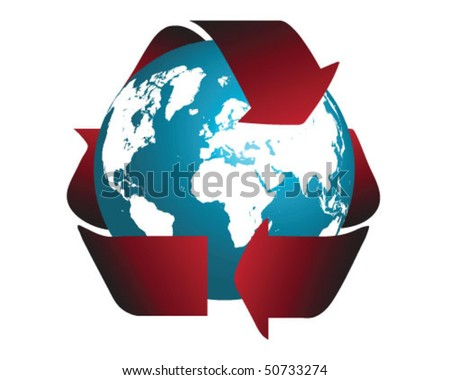 Globe and recycle symbol 2-vector illustration