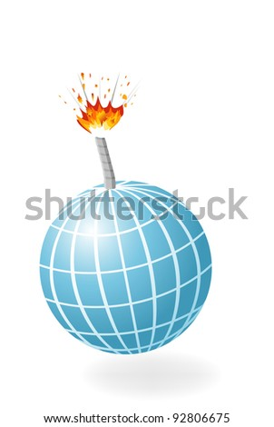 Globe as ignited bomb isolated on the white background.