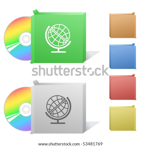 Globe. Box with compact disc. - stock vector