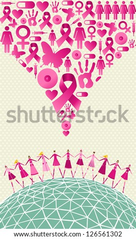 Globe Breast cancer awareness with women teamwork and icon splash background. Vector file layered for easy manipulation and custom coloring. - stock vector