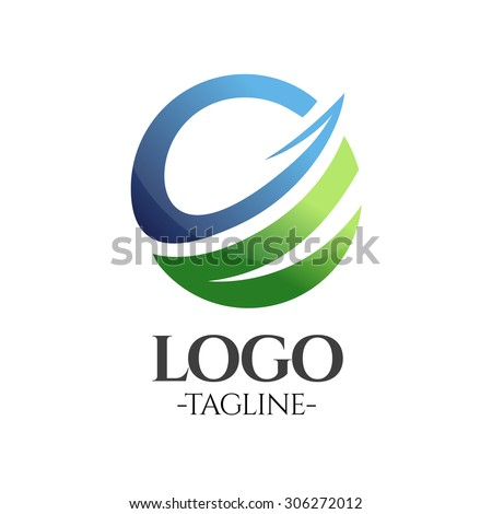 Globe Business vector logo template in blue and green - stock vector