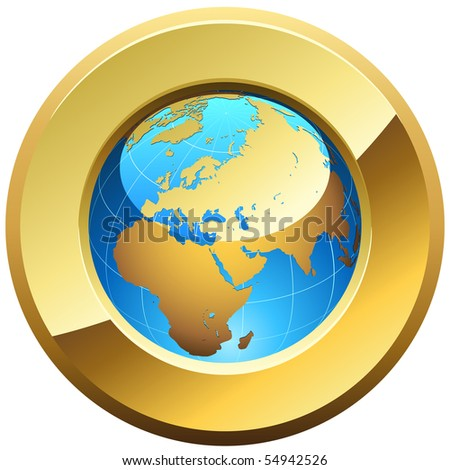 Globe button rimmed with golden glossy frame isolated on white. - stock vector