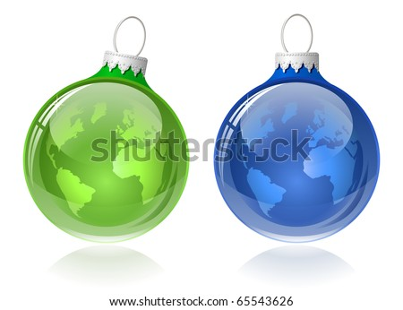 Globe christmas balls. Christmas baubles with World map. - stock vector