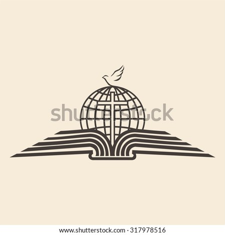 Globe, cross, open Bible, icon, mission trip, missions, spread the word of God, church - stock vector