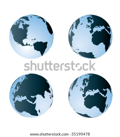 Globe. Different views. Vector Illustration