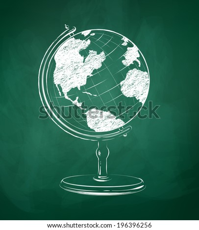 Globe drawn on green chalkboard. Vector illustration. isolated.  - stock vector