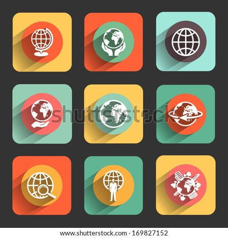 globe earth flat design icon set. template elements for web and mobile applications - stock vector