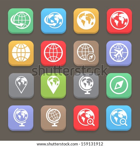 Globe earth flat icon set . Vector illustration - stock vector