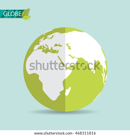 Globe earth icon. Flat style. Vector illustration