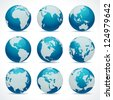 Globe earth icon set vector design elements - stock photo