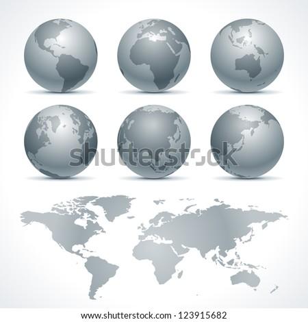 Globe earth icon set vector design elements - stock vector