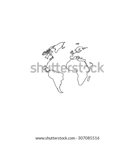 Globe earth. Outline black simple vector pictogram - stock vector