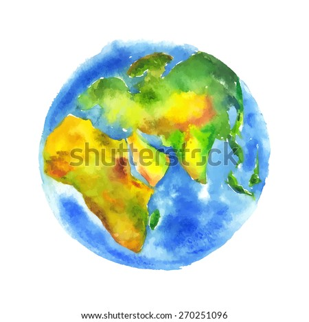 Globe Earth painted watercolor. Hand drawing. Vectorized watercolor illustration.
