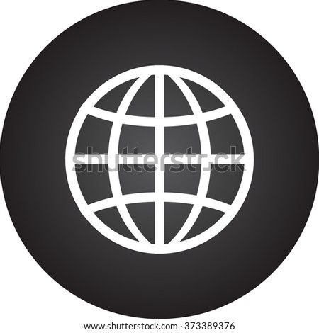 Globe Earth simple icon on round background