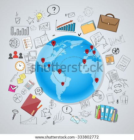 Globe Earth Social Network International Communication World Map Global Chat Concept Doodle Hand Draw Sketch Background Vector Illustration - stock vector