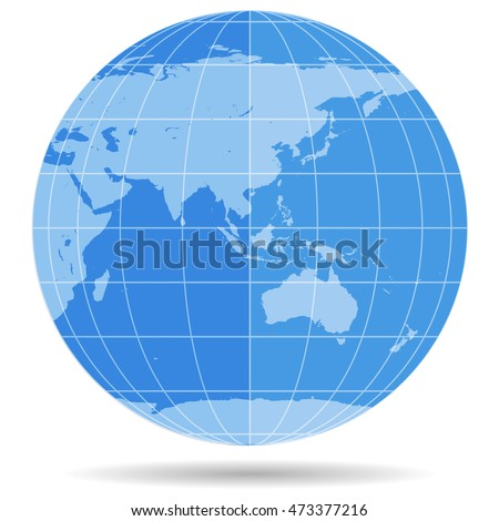 Globe Earth symbol flat icon isolated on white background. Europe, Asia, Africa, Australia, Antarctica, Arctic. Vector illustration