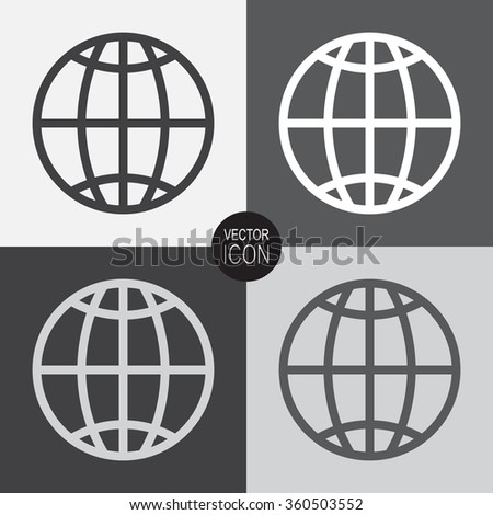 Globe earth vector icon. - stock vector