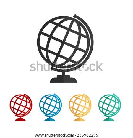 Globe earth  - vector icon, flat design - stock vector