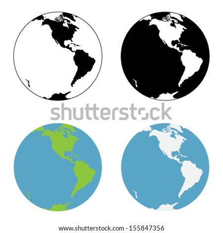 Globe earth vector icons - stock vector