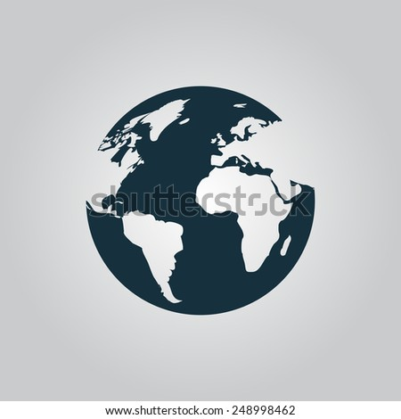 Globe earth vector icons on grey background. Vector illustration flat icon EPS10 - stock vector