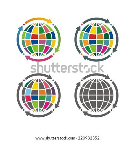 Globe earth vector icons set. - stock vector