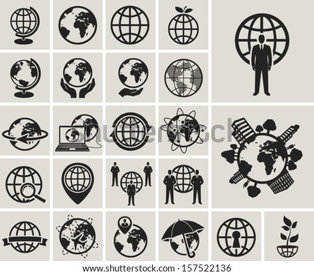 globe earth web icons set.vector illustration - stock vector