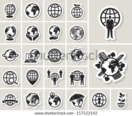 globe earth web icons set. vector paper stickers - stock vector
