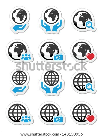 Globe earth with hands vector icons set - stock vector