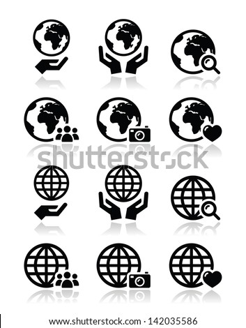 Globe earth with hands vector icons set with reflection - stock vector