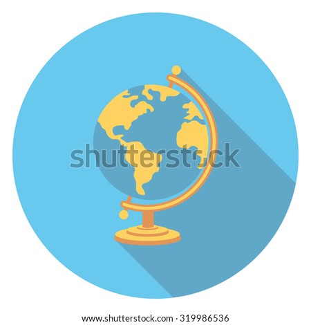globe flat icon in circle - stock vector