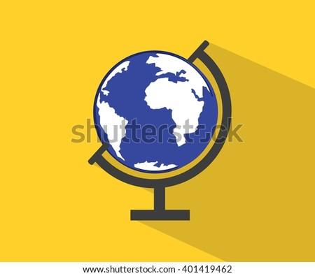 Globe flat icon vector  - stock vector