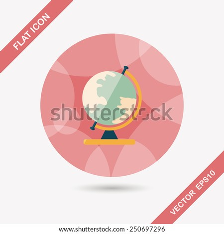 globe flat icon with long shadow,eps10 - stock vector